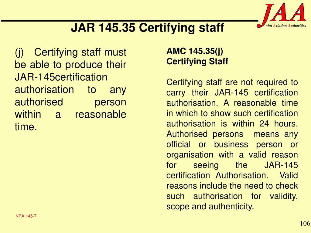 JAR 145.35 Certifying staff