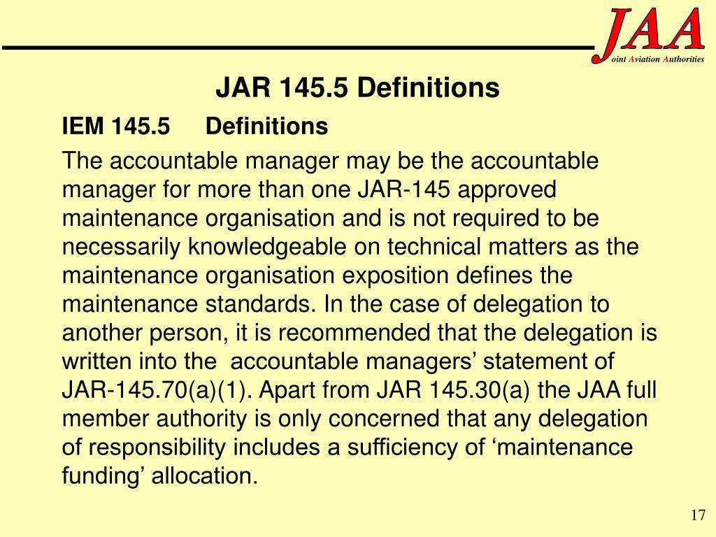 IEM 145.5Definitions
