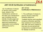 jar 145 50 certification of maintenance132