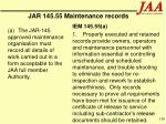 jar 145 55 maintenance records