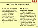 jar 145 55 maintenance records140