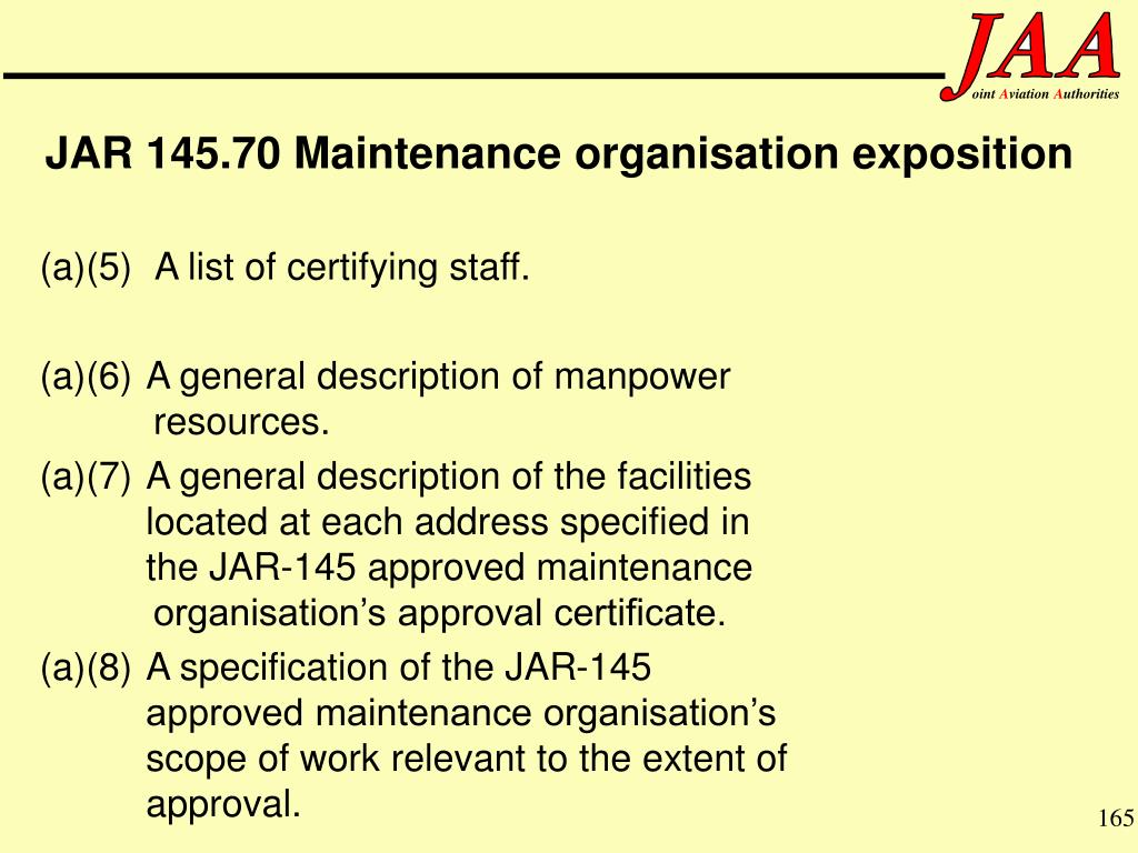 (a)(5) A list of certifying staff.