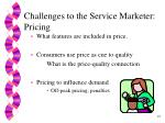 challenges to the service marketer pricing