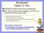 storyboard option 3 text
