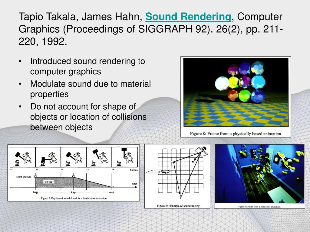 Sound rendering for physically based simulation dating