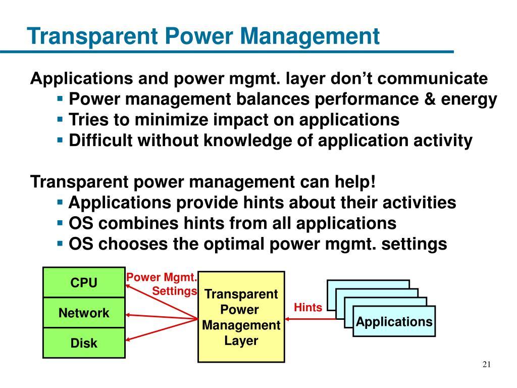 Transparent Power Management