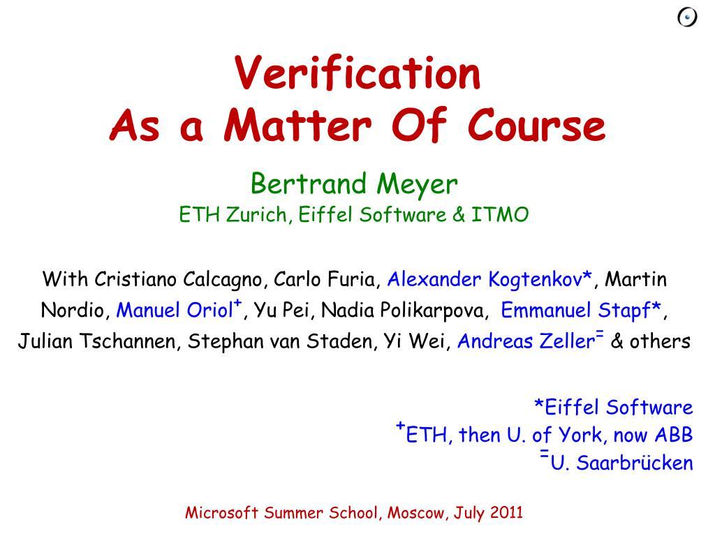 verification as a matter of course l.