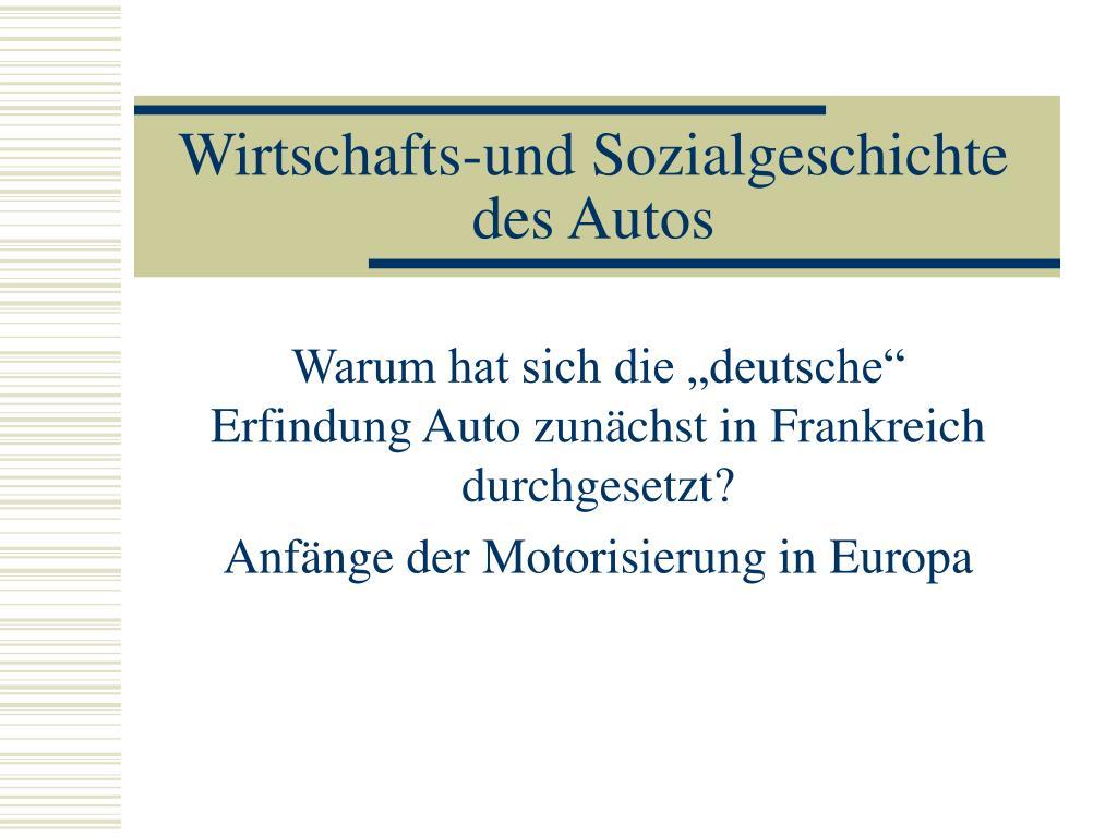 wirtschafts und sozialgeschichte des autos l.