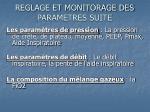reglage et monitorage des parametres suite