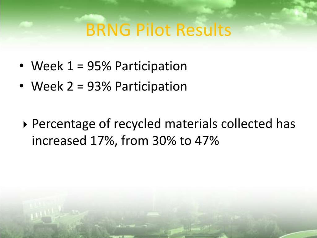 BRNG Pilot Results
