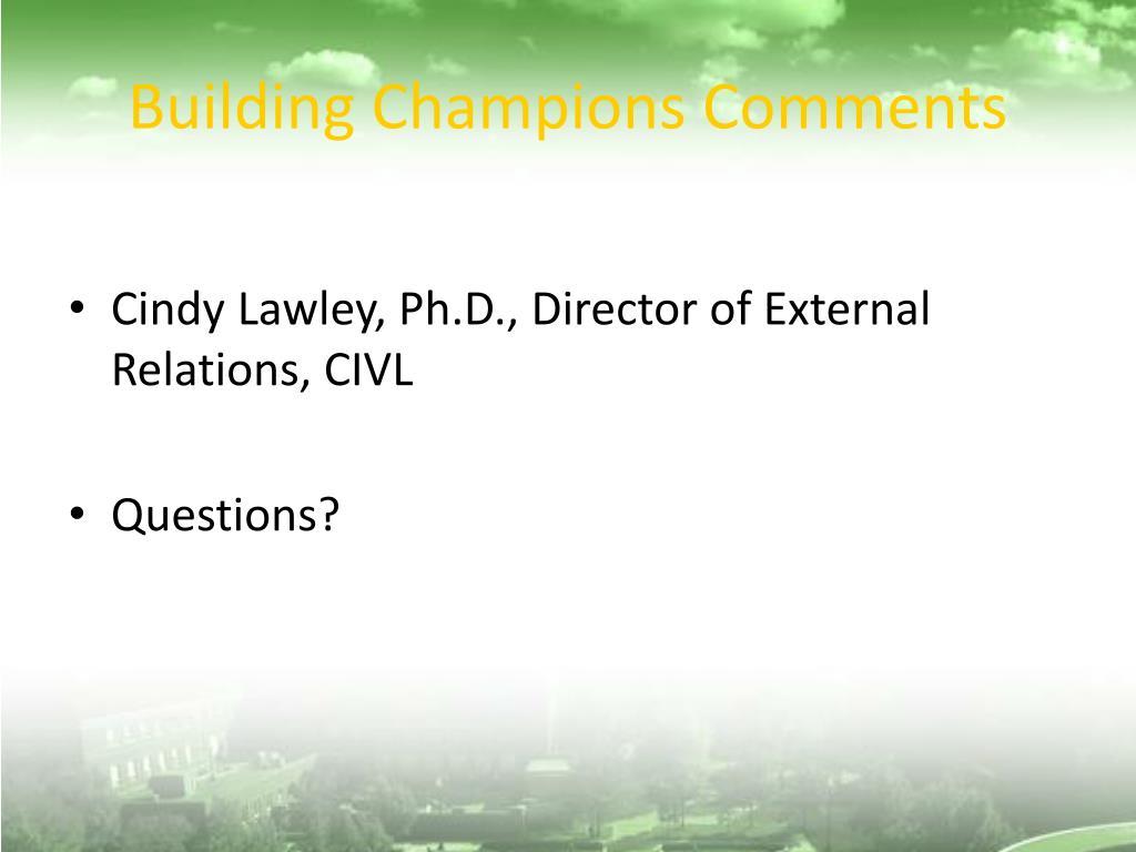 Building Champions Comments