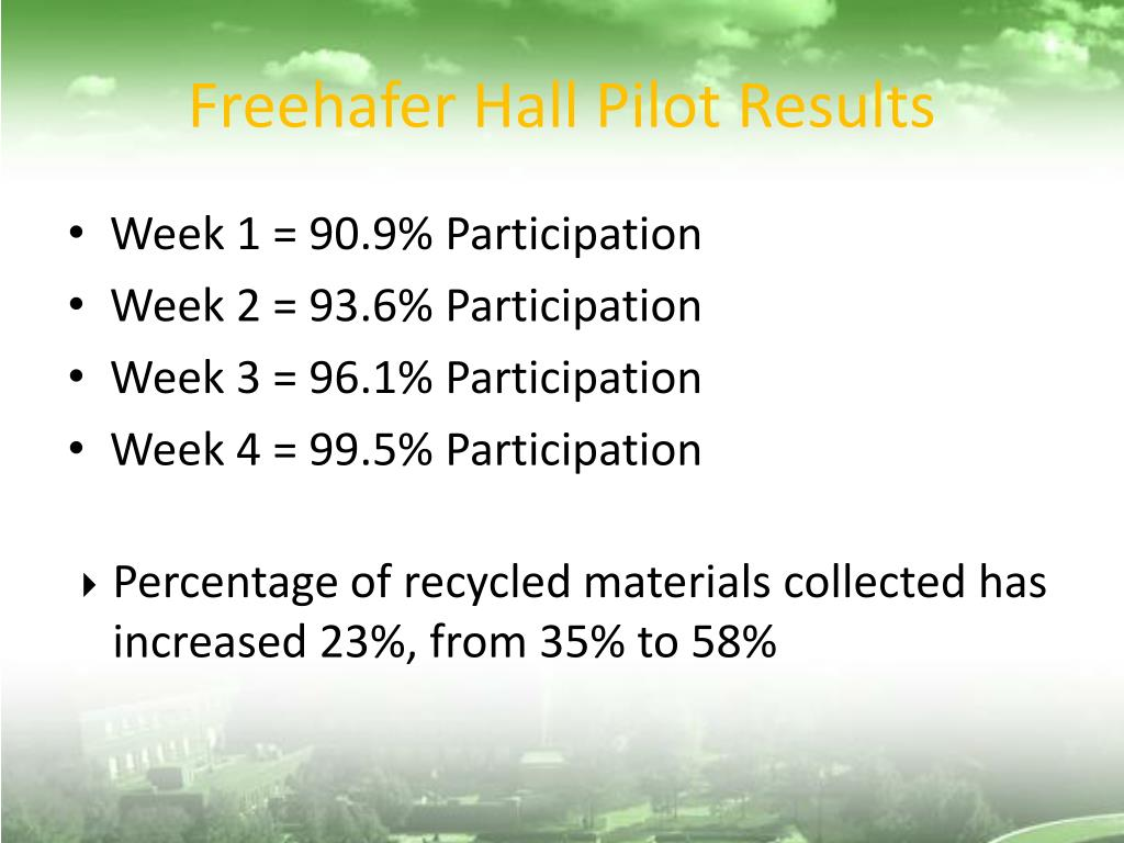 Freehafer Hall Pilot Results