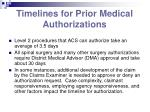 timelines for prior medical authorizations