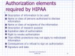 authorization elements required by hipaa