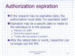 authorization expiration