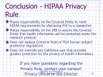 conclusion hipaa privacy rule