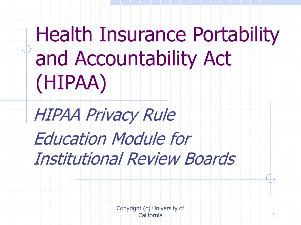 health insurance portability and accountability act hipaa l.