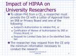 impact of hipaa on university researchers