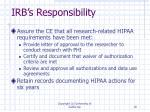 irb s responsibility