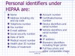 personal identifiers under hipaa are