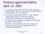protocol approved before april 14 2003
