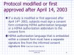 protocol modified or first approved after april 14 2003