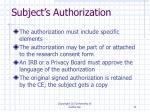 subject s authorization