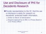 use and disclosure of phi for decedents research