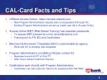 cal card facts and tips