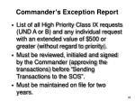 commander s exception report
