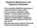 equipment maintenance and inspection worksheet