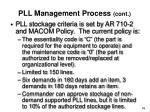 pll management process cont