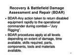 recovery battlefield damage assessment and repair bdar