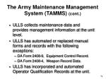 the army maintenance management system tamms cont
