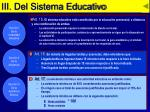 iii del sistema educativo