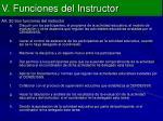 v funciones del instructor