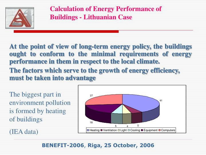 Calculation of energy performance of buildings lithuanian case