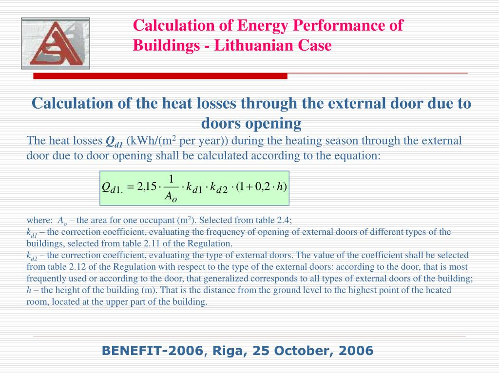 Calculation of the heat losses through the external door due to doors opening