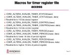 macros for timer register file access