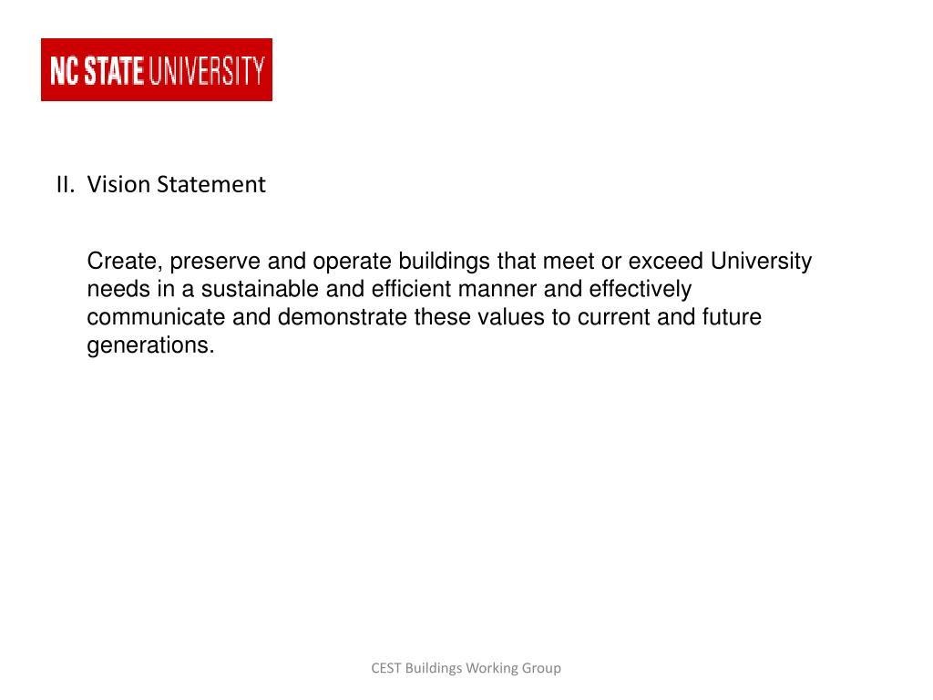 II.  Vision Statement
