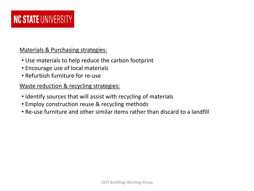 Materials & Purchasing strategies: