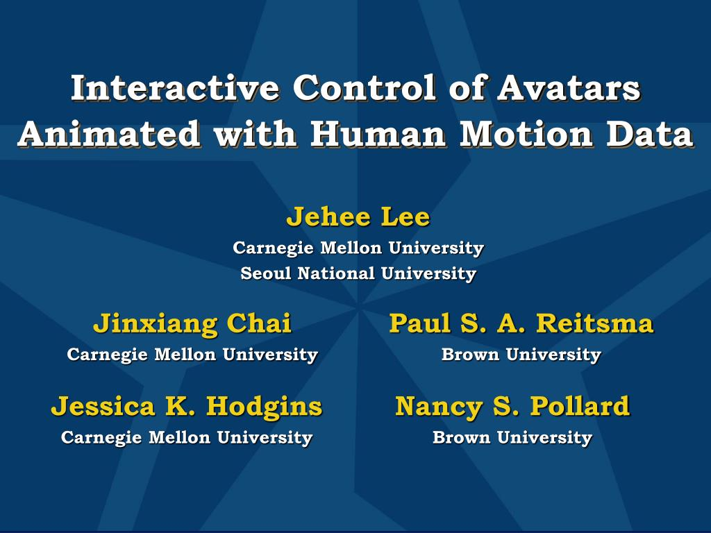 interactive control of avatars animated with human motion data l.