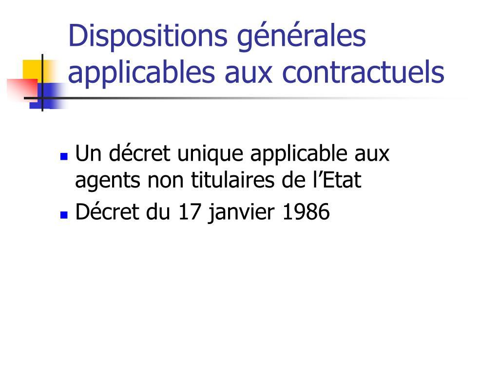 Dispositions générales applicables aux contractuels