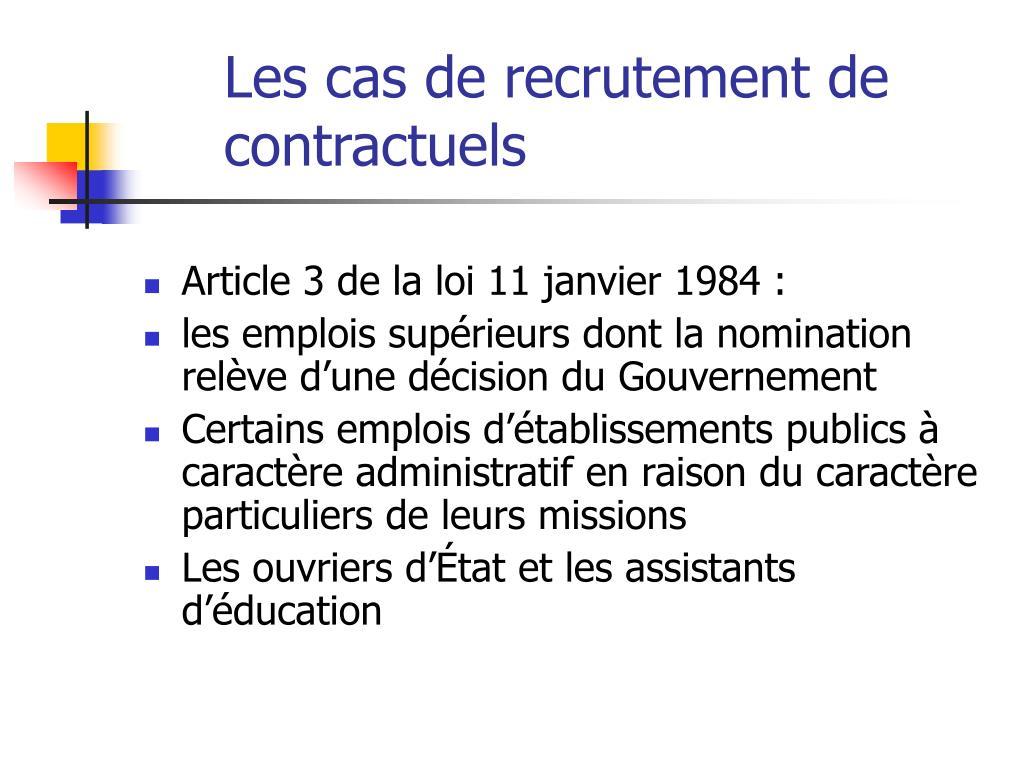 Les cas de recrutement de contractuels