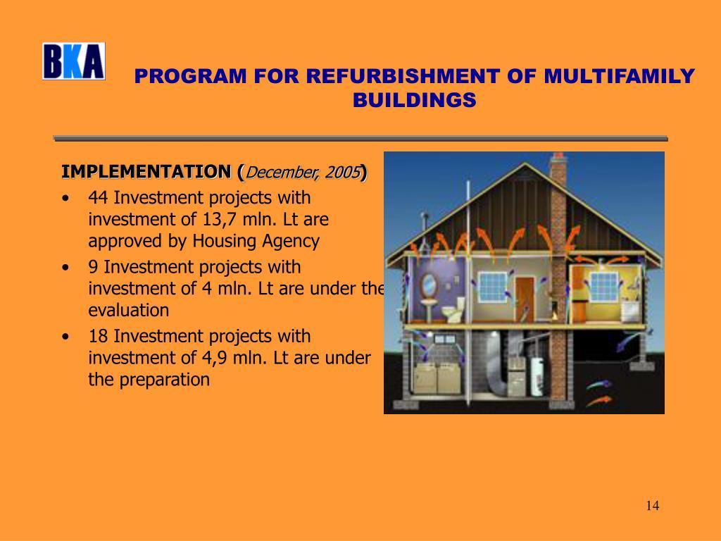 PROGRAM FOR REFURBISHMENT OF MULTIFAMILY BUILDINGS