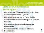 liste des commissions techniques