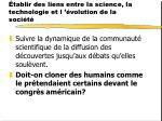 tablir des liens entre la science la technologie et l volution de la soci t