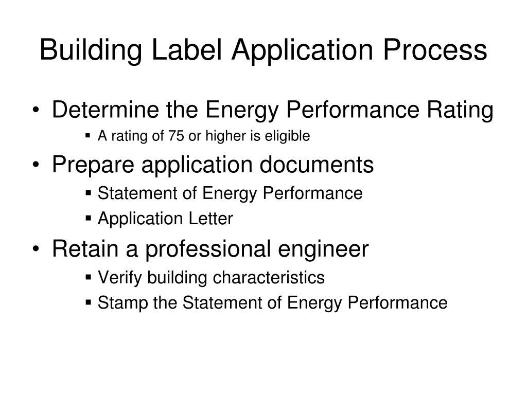 Building Label Application Process