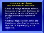 volution des l sions selon la persistance de l infection hpv