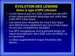 volution des l sions selon le type d hpv infectant